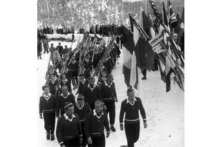 Marching in of the Swiss female and male athletes at the Winter Olympics in St. Moritz, Switzerland.