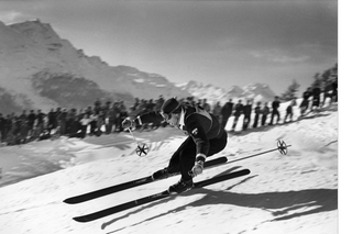 Swiss ski racer Karl Molitor in the olympic downhill skiing.