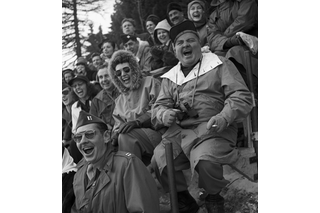 Spectators at the ice hockey final round match between Switzerland and Czechoslovakia.
