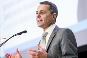 Swiss foreign affairs minister Ignazio Cassis giving a speech at a podium