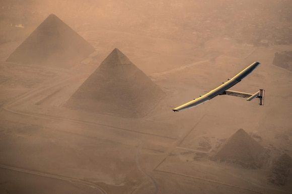 Solar Impulse aircraft flies over pyramids
