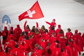 A rectangular Swiss flag at the 2014 Winter Olympics