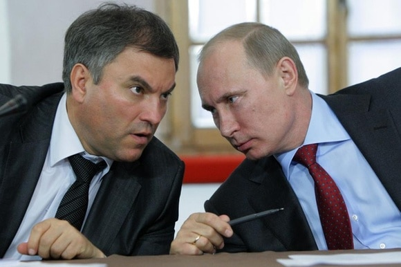 Vyacheslav Volodin (left) used work as Vladimir Putin s chief of staff