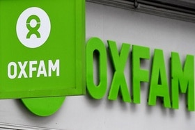 The Oxfam logo at a store in London, Britain, 14 February 2018.