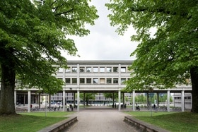 University building with trees