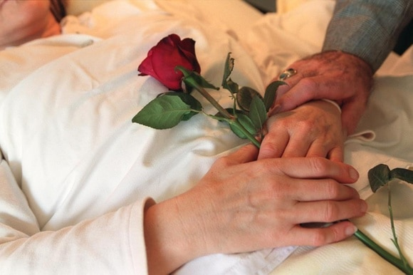 A picture of someone holding a rose in a hospital bed