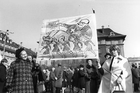 Black and white archive photo of women demonstrators