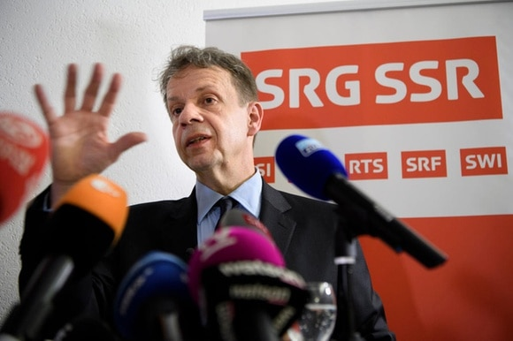 Director General of the Swiss Public Broadcasting Corporation Gilles Marchand speaks to the press during the No Billag vote