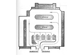 A greyscale floor-plan of a room.