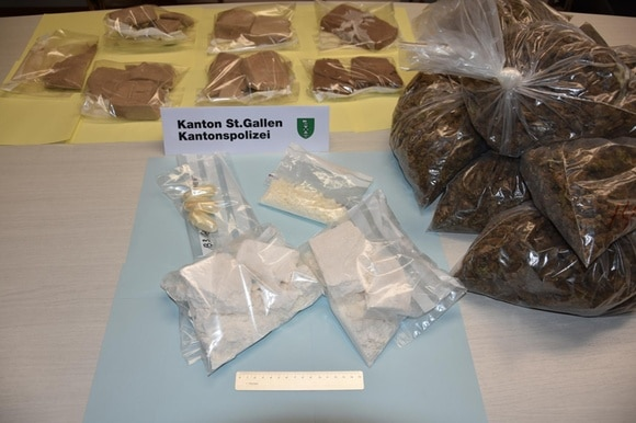 Police confiscated ten kilogrammes of heroin, 0.78kg cocaine and 140kg of marijuana.