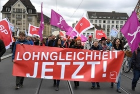 A May Day rally in the centre of Basel in northwest Switzerland on May 1, 2018