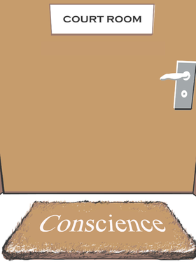 cartoon about courtroom and conscience