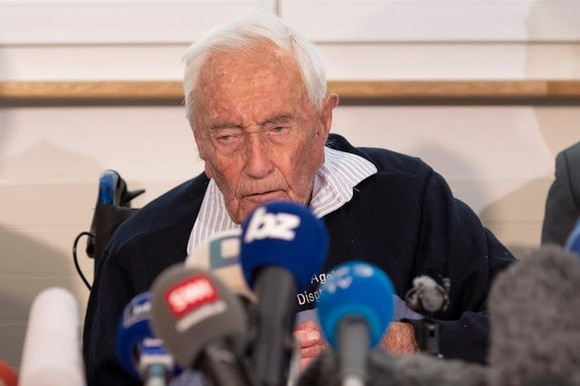 David Goodall speaks during his press conference a day before his assisted suicide in Basel,