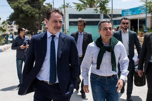 UNRWA head Pierre Kraehenbuehl, left, and Swiss Federal Councillor Ignazio Cassis, right