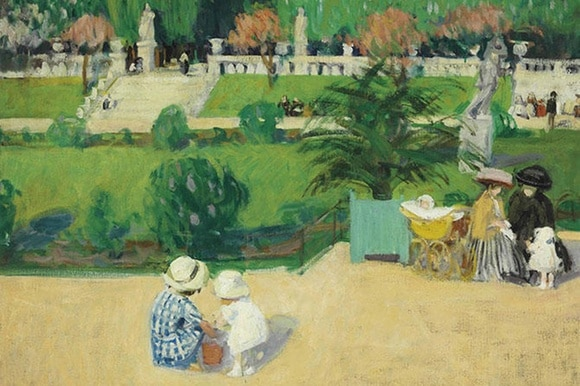 painting of children in a park