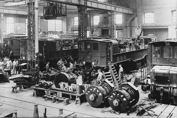 Linha de montagem de locomotivas