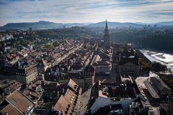 old town in bern, viewed from above