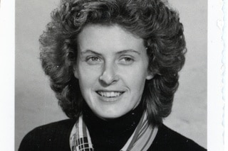 Black and white photo portrait of a woman