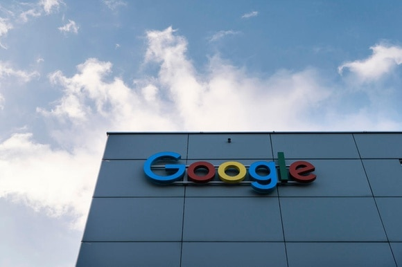 Google sign on a building