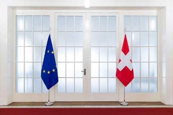 Swiss and EU flags on show in Bern during official visit