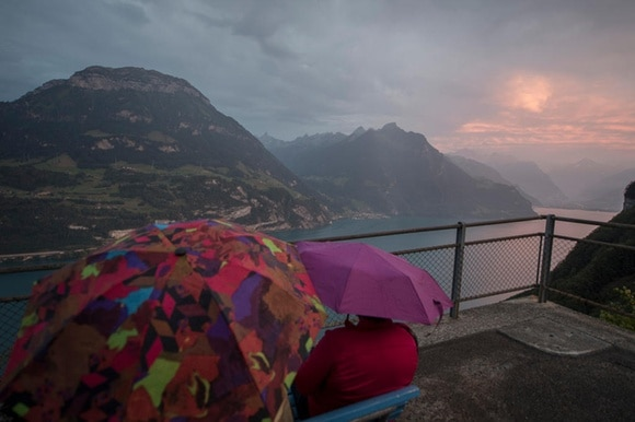 Swiss mountains in the rain