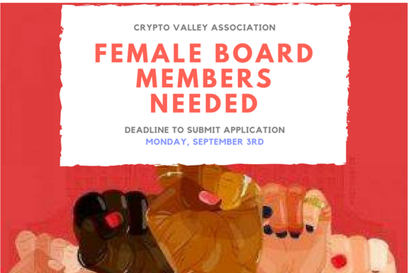 A poster calls for female board members at the CVA