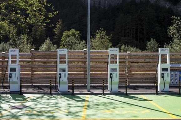 Electric car charging points.
