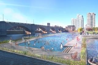 river pool and city skyline