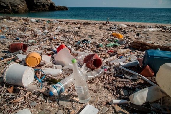 Plastic pollution on the Charakes beach on the Greek island of Evia
