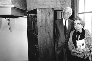 Miep Gies and her husband Jan in the house of Anne Frank in Amsterdam