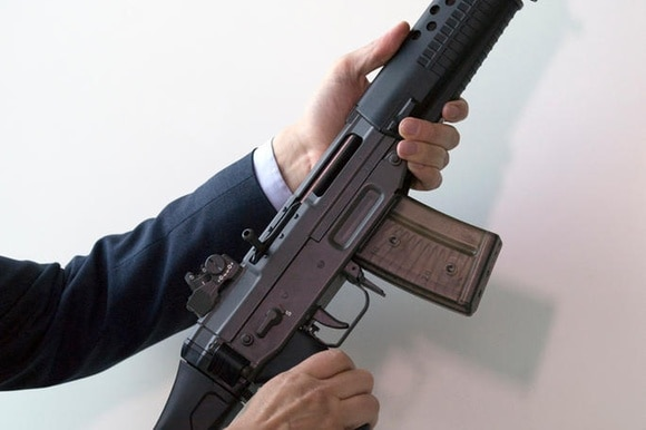 Assault rifle, as seen in another context in Switzerland