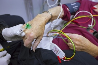 Patients hand with infusion