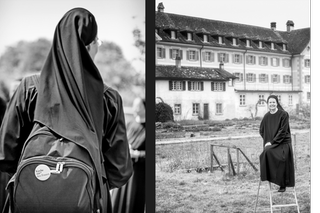 Nun wearing a rucksack and on a step ladder in front of the convent