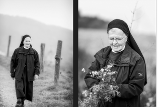 Nun walking and picking flowers