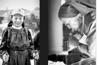 Nun with ruckstack and hiking sticks, working in the kitchen