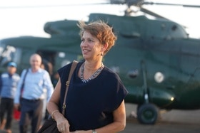 Christine Schraner Burgener arrives in Rakhine by helicopter