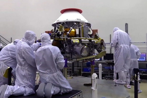 The InSight probe being inspected