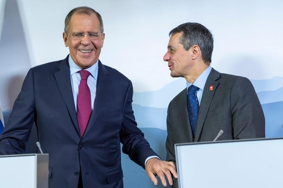 Russian Foreign Minister Sergey Lavrov, left, and Switzerland s Federal Councillor and Foreign Minister Ignazio Cassis