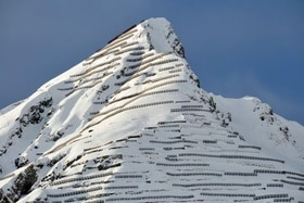 Protective barriers on the Schiahorn mountain above the town of Davos in eastern Switzerland