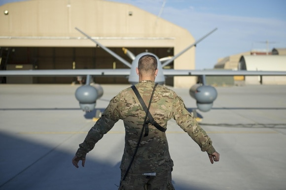 An MQ-9 Reaper drone equipped with Gorgon surveillance pods  before a sortie in Afghanistan in 2015.