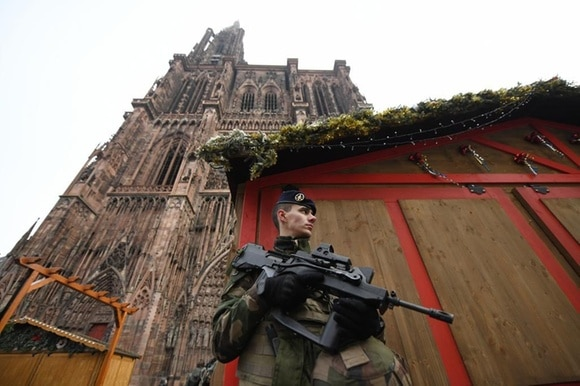 French terrorist policeman on guard in Strasbourg