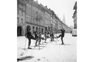 children with skis in Bern