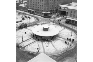 Snowy roundabout