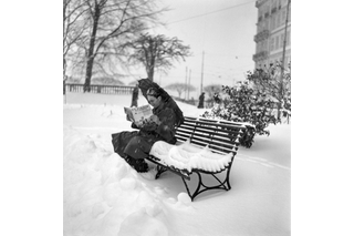 Woman reading on a snowy bench