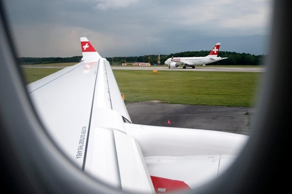 An aircraft of the Swiss International Air Lines at Geneva airport
