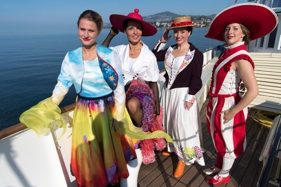 Ladies in costume on boat
