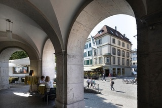 Arcades of the Choufhuesi in the old town of Langenthal,