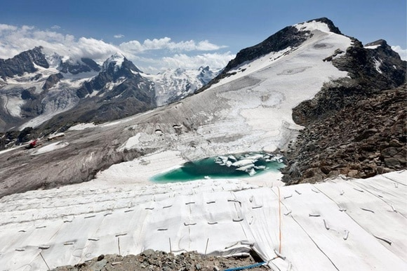 A Swiss mountain with melting glacier