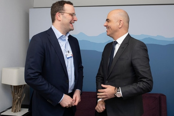 Swiss Federal Councillor Alain Berset, right, meets with Jens Spahn, Minister of Health of Germany