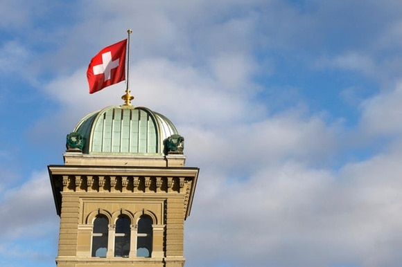 Swiss flag on building